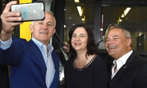 Malcolm Turnbull takes a selfie with Queensland premier Annastacia Palaszczuk and Gold Coast mayor Tom Tate after riding the light rail in Southport