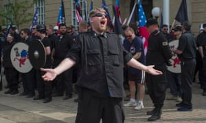 an american neo nazi at a rally in pikeville kentucky in april 2017