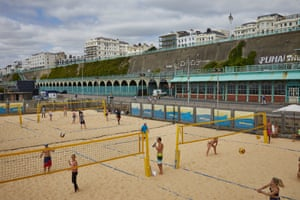 The volleyball courts at Katie Mintram's Yellowave, Brighton