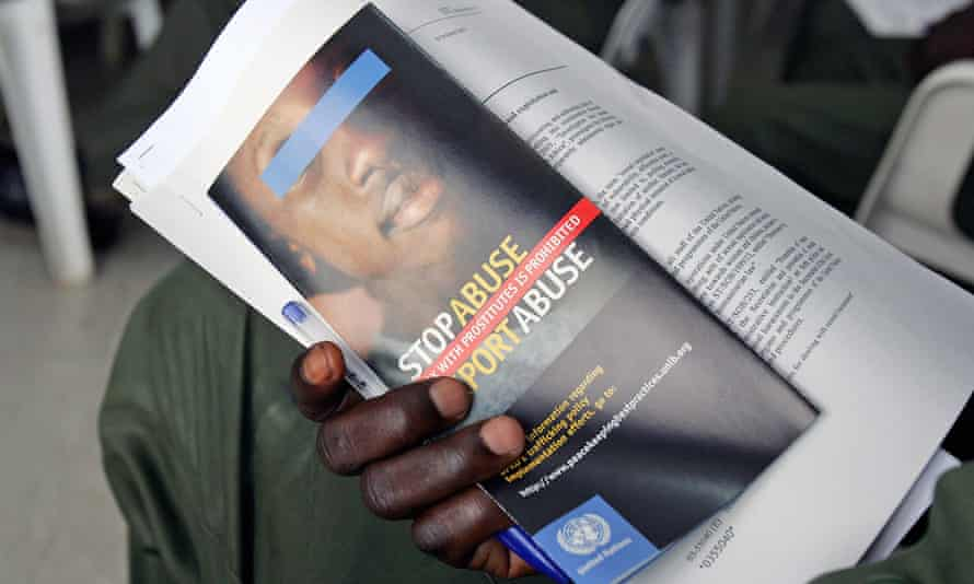 A UN soldier undergoing sexual exploitation awareness training in Ivory Coast