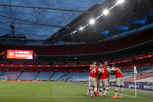 London, England: Pierre-Emerick Aubameyang celebrates with teammates after scoring his and Arsenal's second goal during the FA Cup semi-final at an empty Wembley stadium.