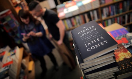 Copies of former FBI director James Comey's book A Higher Loyalty, seen at a store in Washington.