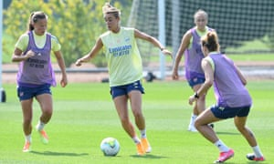 Jill Roord and Malin Gut of Arsenal during a training session.