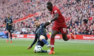 Bernardo Silva tackles Sadio Mané during the 0-0 draw at Anfield in October. The versatile Portuguese midfielder was a key player for Guardiola this season.