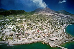 Plymouth, the abandoned capital of Montserrat, in 1997