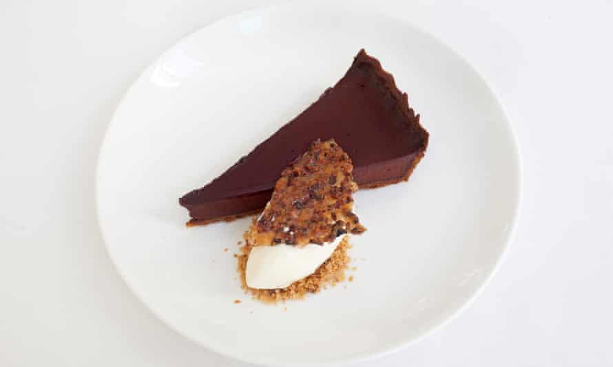 'Light and dark on a plate': chocolate tart.