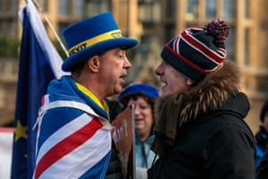 steve bray and a pro brexit protester face off at parliament in january 2019
