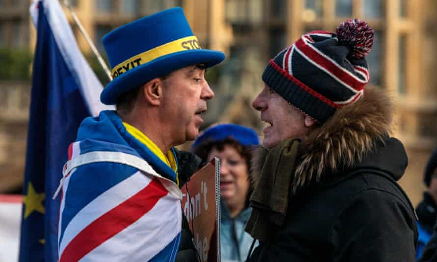 High tension … anti and pro-Brexit supporters square up outside the Houses of Parliament in January.