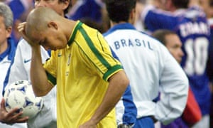Ronaldo cuts a dejected figure following his and Brazil's underwhelming display at the Stade de France