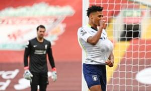 Ollie Watkins of Aston Villa celebrates his goal.