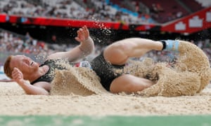 Greg Rutherford grimaces as he lands his final jump in the pit where he won Olympic gold in 2012.