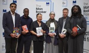 Man Booker prize 2015 Sunjeev Sahota, Chigozie Obioma, Hanya Yanagihara, Anne Tyler, Tom McCarthy and Marlon James.