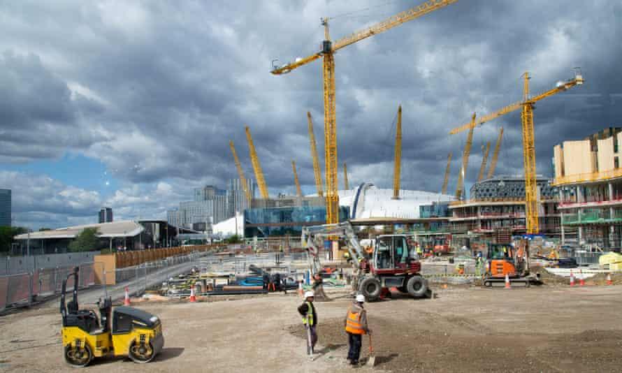 Construction work on London's Greenwich Peninsula in 2019.