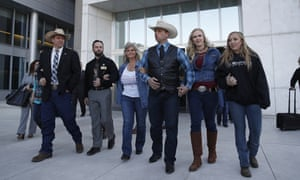 From left to right outside the courthouse: Ammon Bundy, Ryan Payne, Jeanette Finicum, widow of Robert 'LaVoy' Finicum, Ryan Bundy, Angela Bundy (wife of Ryan Bundy) and Jamie Bundy (daughter of Ryan Bundy).