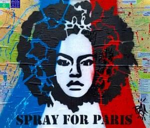 An artwork is painted on top of a map of Paris, as seen on Place de la République.