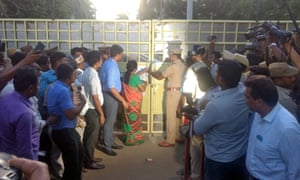 Government officials seal the gates of the Sterlite copper plant in Thoothukudi.