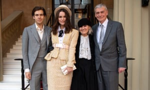 Knightley with her husband James Righton and her parents Sharman and William