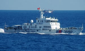 A Chinese coastguard vessel is seen close to the islands on Saturday in a picture released by Japanese maritime authorities.