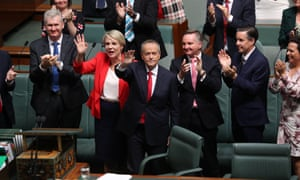 Bill Shorten and Tanya Plibersek wave to the supporters in the gallery after Shorten's budget reply in the House of Representatives