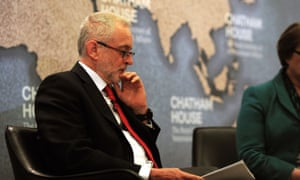 Labour leader Jeremy Corbyn speaking about national security and foreign policy at Chatham House in London.