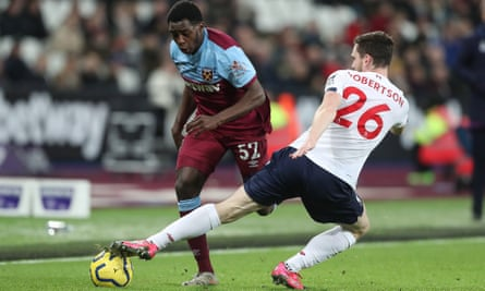 Jeremy Ngakia in action for West Ham against Liverpool in January