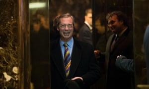 Nigel Farage arrives at Trump Tower in New York in December 2016.