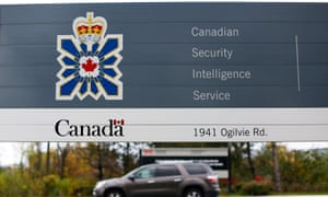 A sign is pictured outside the CSIS headquarters in Ottawa