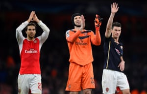 Mathieu Flamini, Petr Cech and Laurent Koscielny acknowledge the crowd after victory.
