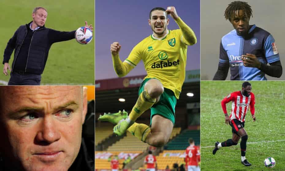 Clockwise from top left: Swansea's head coach Steve Cooper, Emi Buendía of Norwich, Wycombe's Admiral Muskwe, Brentford's Josh Dasilva and Derby's interim manager Wayne Rooney.