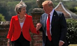 Theresa May hosts Donald Trump at Chequers, 2018.