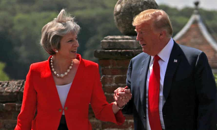 Donald Trump and Britain's then prime minister, Theresa May, meet in the UK in 2018. The president is said to have been surprised that the UK had nuclear weapons, John Bolton's book says.
