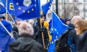 Protesters outside parliament as MPs prepared to debate on Monday a petition calling for a referendum on the final Brexit deal.
