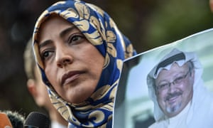 Nobel peace prize laureate Tawakkol Karman holds a picture of Khashoggi during a demonstration in front of the Saudi consulate on 5 October.