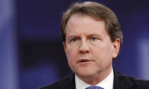 Don McGahn speaks at the Conservative Political Action Conference at National Harbor, Maryland on 22 February 2018.
