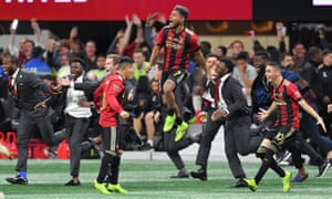 Atlanta United celebrate at full-time.