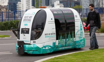 The driverless car GATEway in Greenwich, London, in 2017