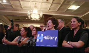 Members of the audience listen to Hillary Clinton speak at the Suffolk County Democratic Committee's annual spring dinner in Holbrook, New York this week.