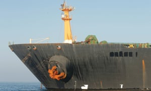 The name of the Iranian oil tanker Grace 1 is seen removed as it sits anchored in the Strait of Gibraltar on Friday.