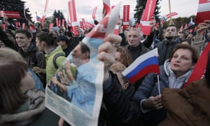 Protesters in St. Petersburg Russia on Saturday.