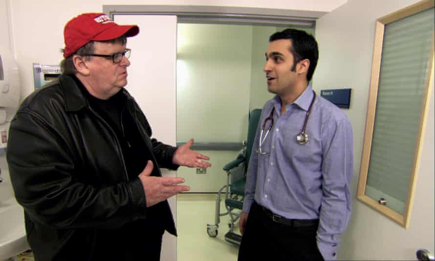Moore in his 2007 film Sicko, which painted a rather rosy picture of the state of the NHS, in a contrast with the US health system.