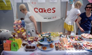 Homemade cakes on sale at a primary school summer fair in 2019.