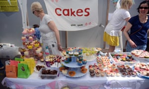 Home made cakes on sale by volunteer parents