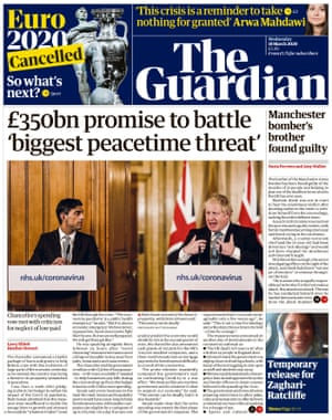 Guardian front page, Wednesday 18 March 2020