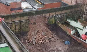The damage to part of Chester's ancient city wall.