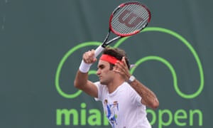 Roger Federer takes part in a practice session for the Miami Open
