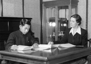 Prince Akihito has English lessons from his tutor Elizabeth Gray Vining in Tokyo in November 1950