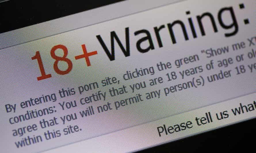 Porn website age warning.