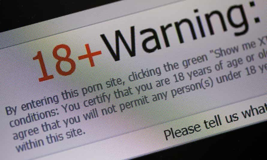 18+ warning on porn site