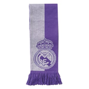 mauve and white Real Madrid scarf