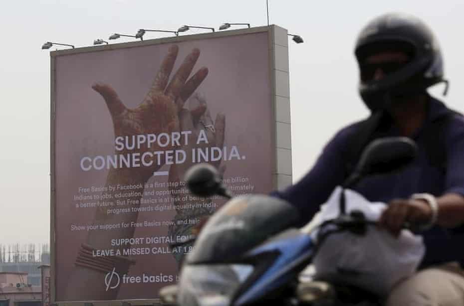 A billboard advert for Facebook's Free Basics initiative in Mumbai. India.